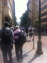 Heading down the boulevard: note the preponderance of street furniture in our way (see the next photo but 3).